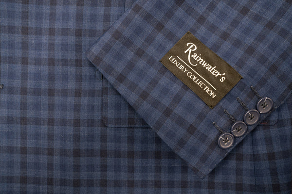 Rainwater's French Blue Check Super 140's Wool Sport Coat