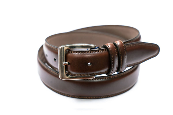 Brown Leather Padded Dress Belt With Double Keeper - Rainwater's