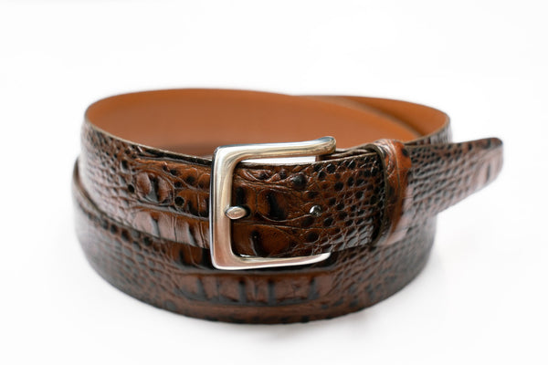 Croco-Embossed Leather Belt in Brown - Rainwater's