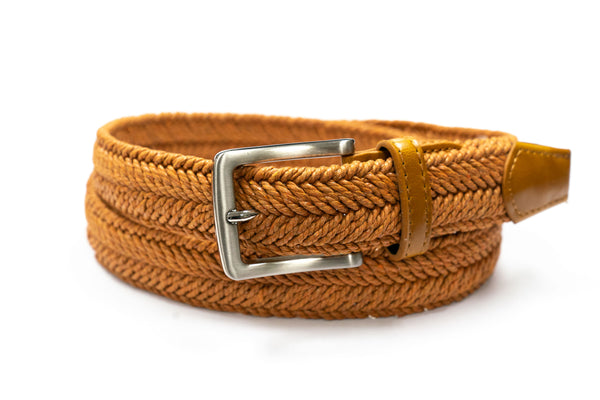 Camel Waxed Cotton Braided Belt - Rainwater's