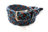 Navy Cotton & Leather Braided Belt - Rainwater's Men's Clothing and Tuxedo Rental