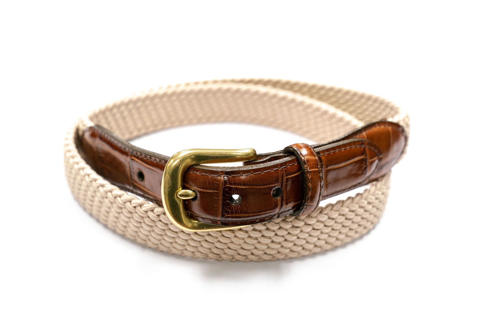 Brighton Braided Stretch Belt with Croco Leather in Beige - Rainwater's