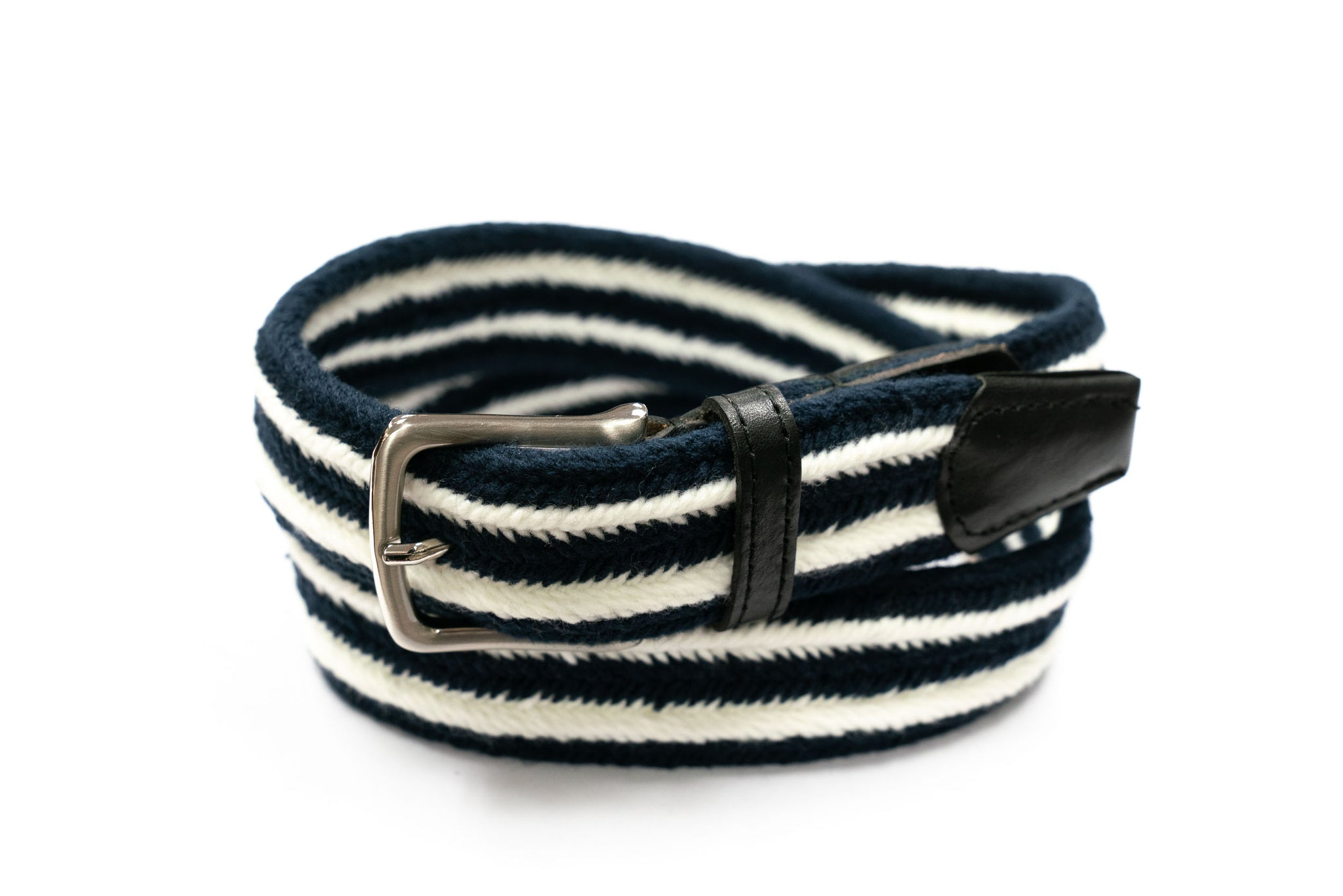 Navy & White Striped Cotton Webbed Belt - Rainwater's Men's Clothing and Tuxedo Rental