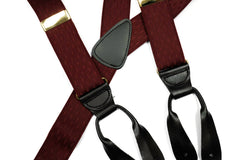 Burgundy Diamond Texture Button In Leather Tab Braces Suspenders - Rainwater's Men's Clothing and Tuxedo Rental