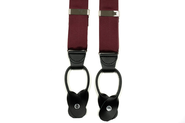 Burgundy Grosgrain Button In Leather Tab Braces Suspenders - Rainwater's Men's Clothing and Tuxedo Rental