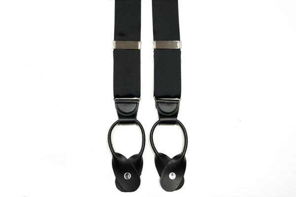 Black Grosgrain Button In Leather Tab Braces Suspenders - Rainwater's Men's Clothing and Tuxedo Rental