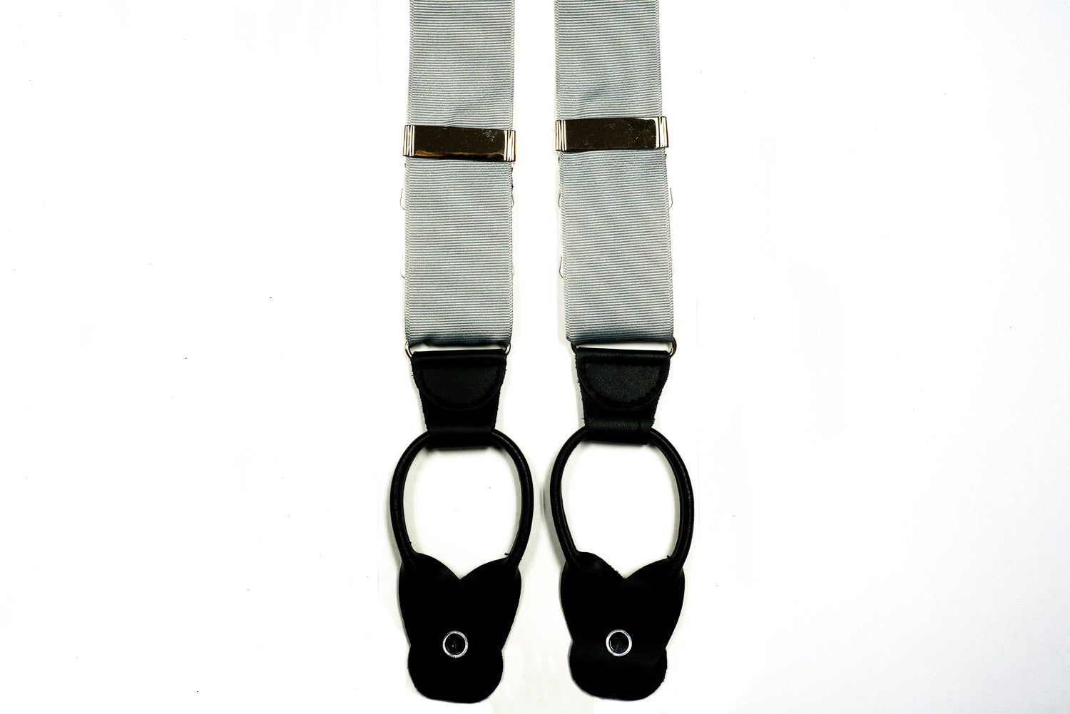 Silver Grosgrain Button In Leather Tab Braces Suspenders
