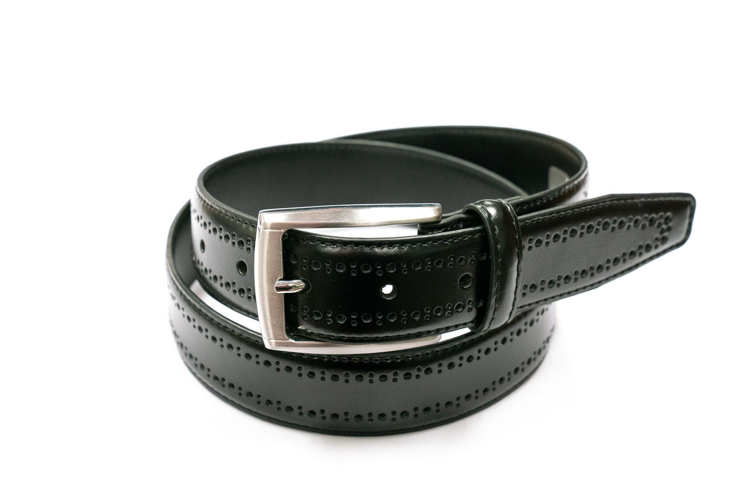 Perforated Black Leather Dress Belt - Rainwater's Men's Clothing and Tuxedo Rental