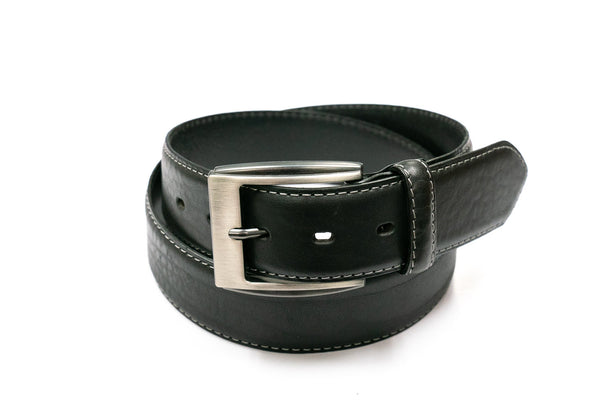 Stitched Edge Black Leather Belt - Rainwater's