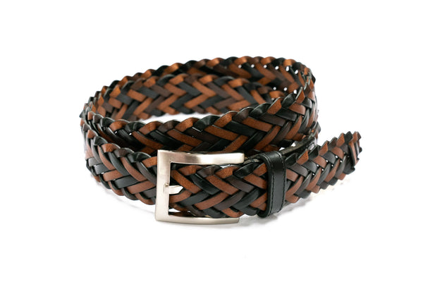 Brown & Black Braided Leather Belt - Rainwater's