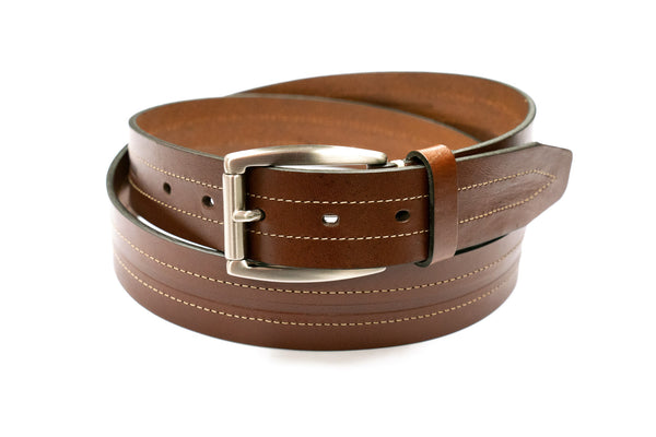 Trafalgar Cognac Strap Belt With Stitch Detail - Rainwater's