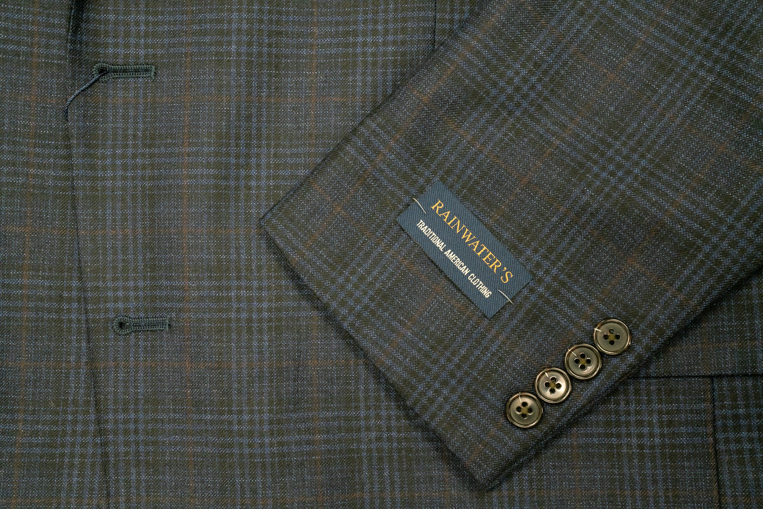 Rainwater's Navy Muted Plaid Classic Fit Wool Sport Coat