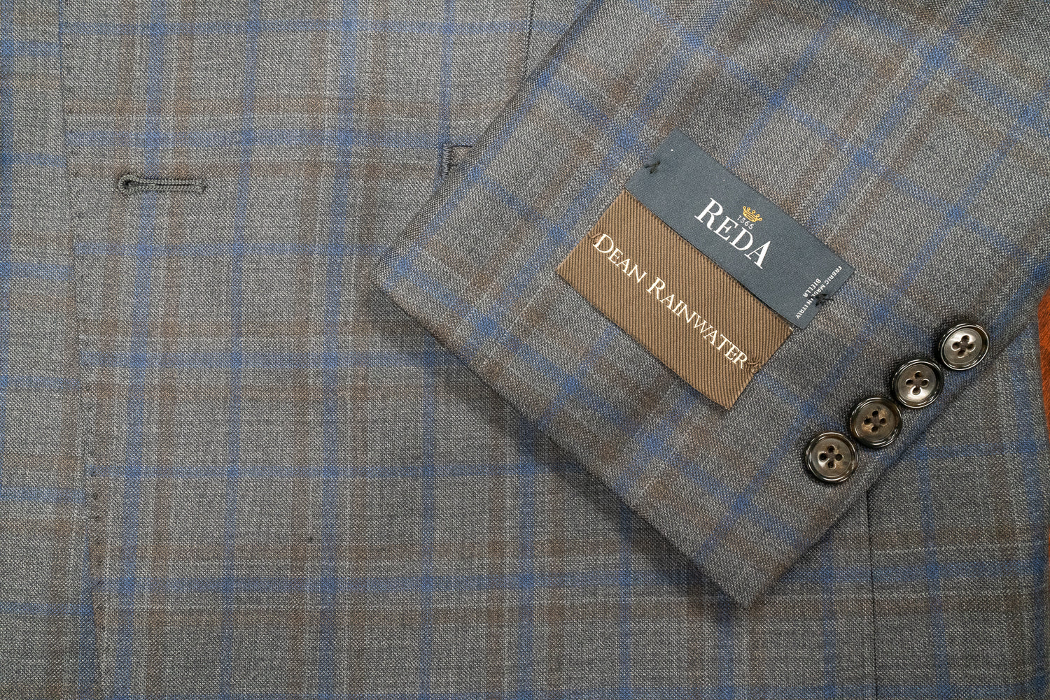 Reda Grey With Blue Windowpane Sport Coat