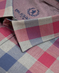 Bugatchi Grey Red & Navy Check Classic Fit Sport Shirt - Rainwater's Men's Clothing and Tuxedo Rental