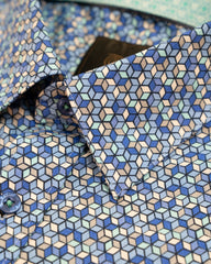 F/X Fusion Royal and Teal Mosaic Print Hidden Button Down Sport Shirt - Rainwater's Men's Clothing and Tuxedo Rental