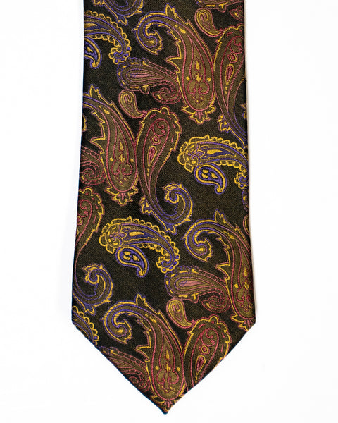 Paisley Silk Tie in Black With Camel - Rainwater's