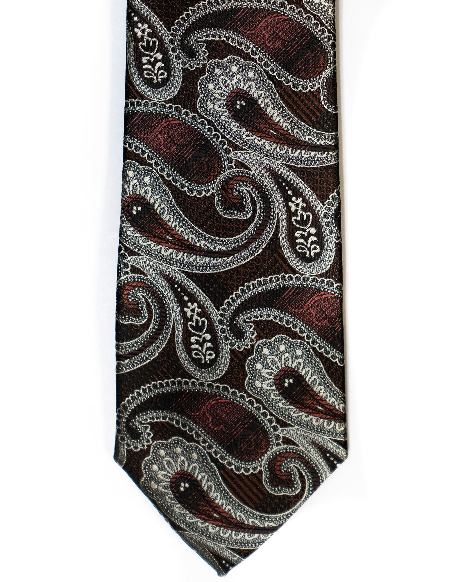 Venturi Uomo Paisley Tie in Burgundy with Grey - Rainwater's
