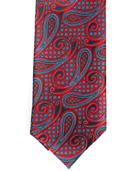 Paisley Silk Tie in Red With Navy - Rainwater's