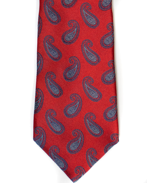 Paisley Silk Tie in Red With Blue - Rainwater's