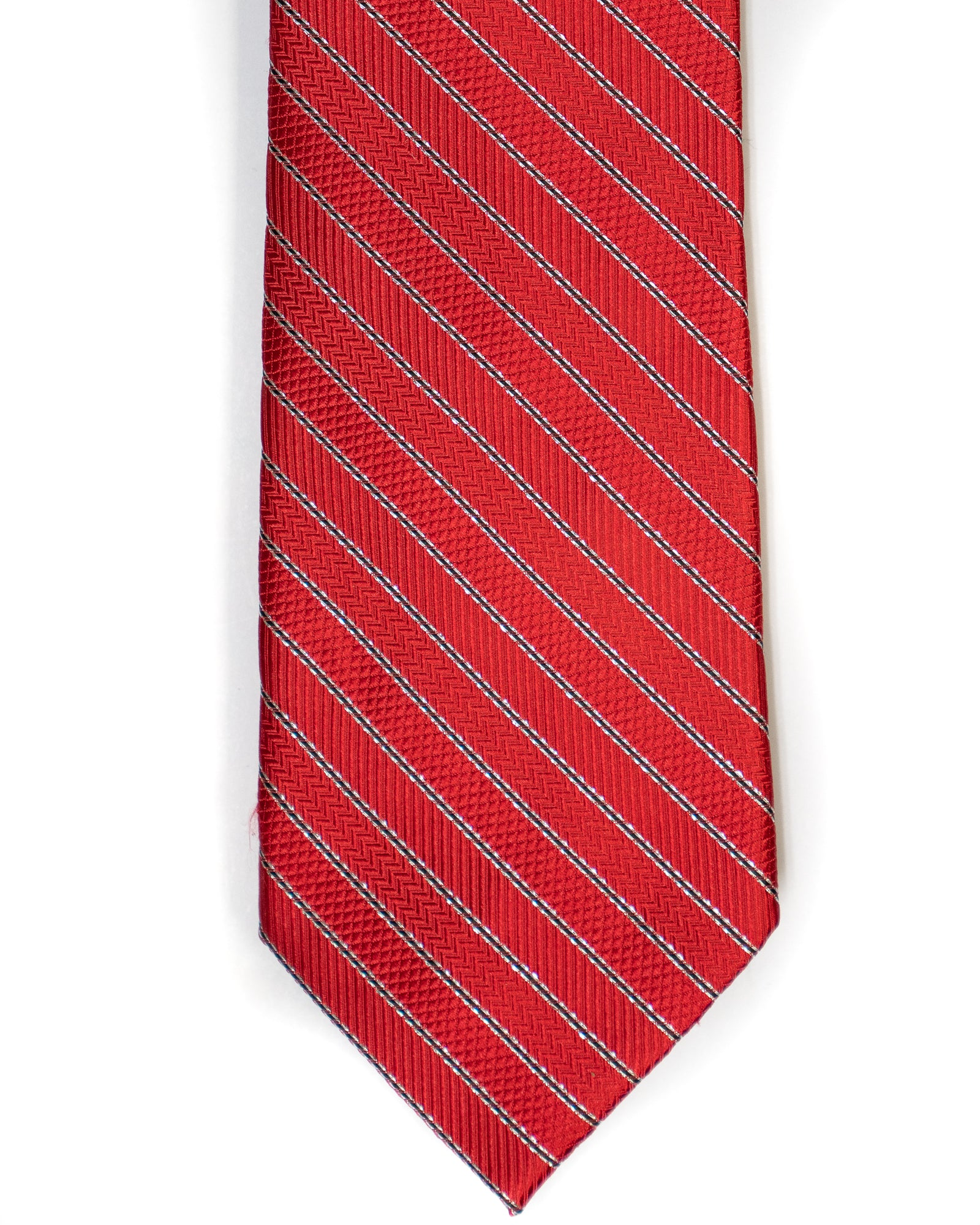 Silk Tie In Red With Black Stripes - Rainwater's