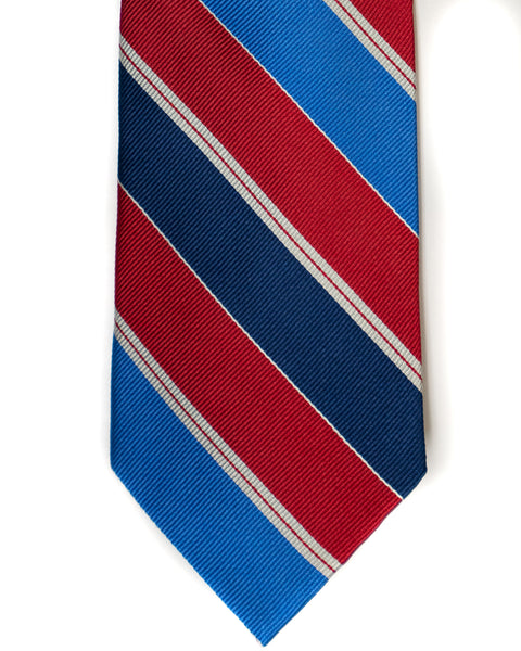 Silk Tie In Red With Blue & Navy Stripes - Rainwater's Men's Clothing and Tuxedo Rental