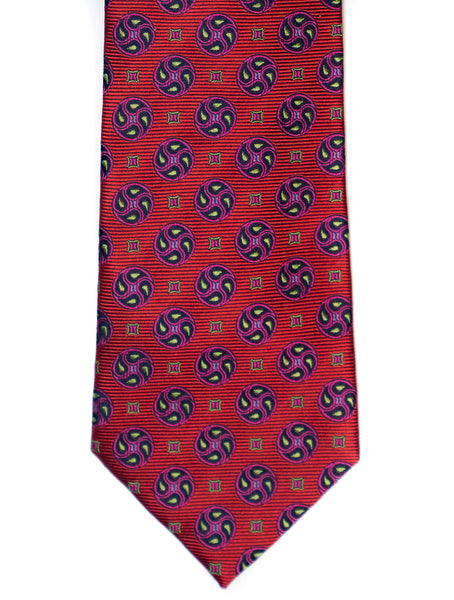 Silk Tie In Red With Navy Foulard & Circle Print - Rainwater's Men's Clothing and Tuxedo Rental