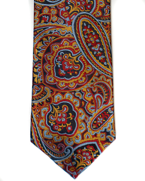Paisley Silk Tie in Burgundy With Navy & Gold - Rainwater's