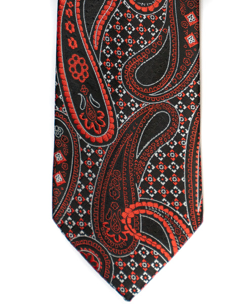 Venturi Uomo Paisley Check Tie in Black with Red - Rainwater's Men's Clothing and Tuxedo Rental
