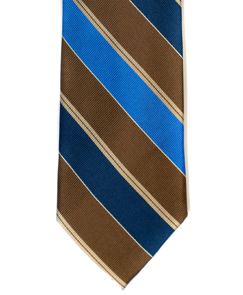 Silk Tie In Brown With Navy & Blue Stripes - Rainwater's Men's Clothing and Tuxedo Rental