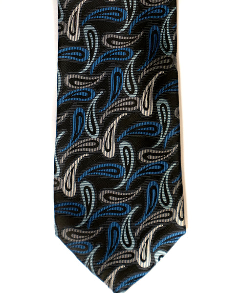 Gianfranco Paisley Tie in Black with Blue - Rainwater's Men's Clothing and Tuxedo Rental