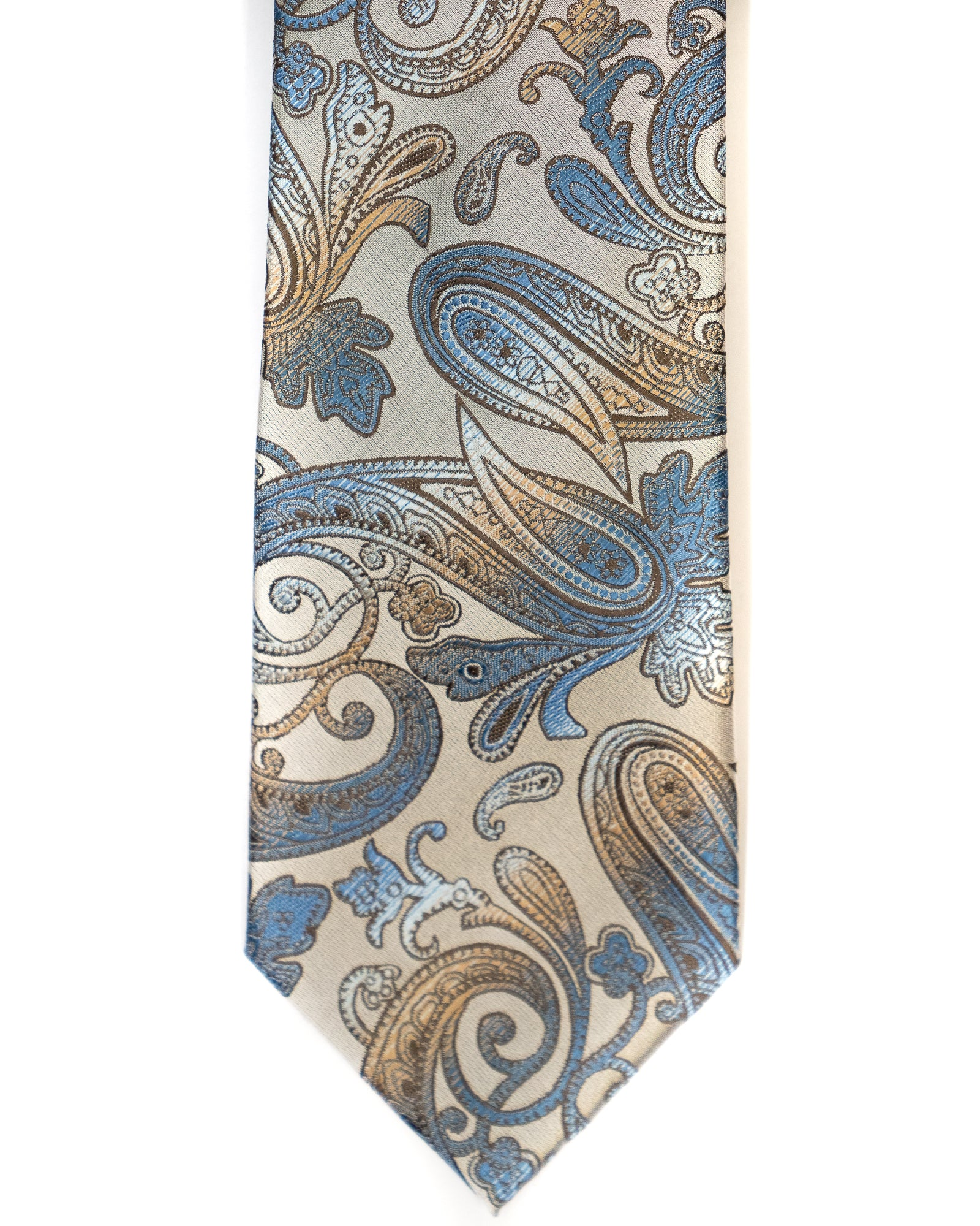 Venturi Uomo Paisley Tie in Grey with Blue - Rainwater's