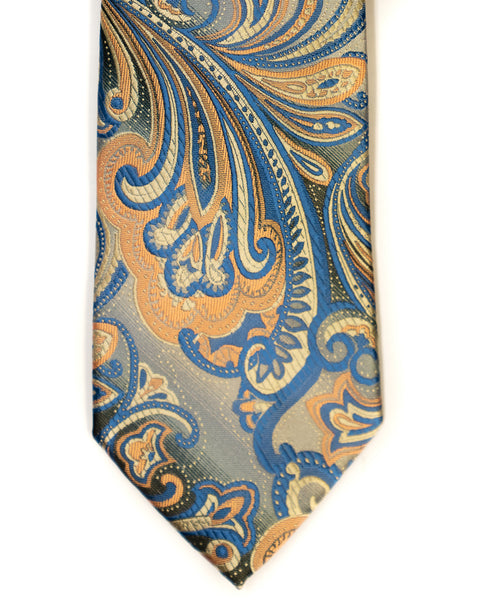 Venturi Uomo Exploded Paisley Tie in Grey with Coral - Rainwater's
