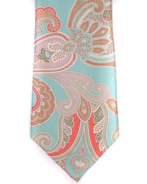 Paisley Silk Tie in Seafoam With Tan - Rainwater's