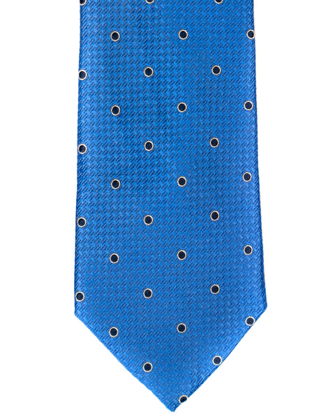 Silk Tie In Blue With Navy Dot Foulard Print - Rainwater's Men's Clothing and Tuxedo Rental