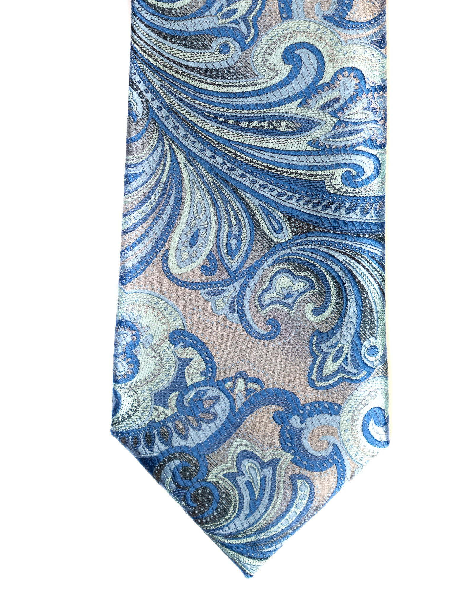 Venturi Uomo Exploded Paisley Tie in Grey with French Blue - Rainwater's Men's Clothing and Tuxedo Rental