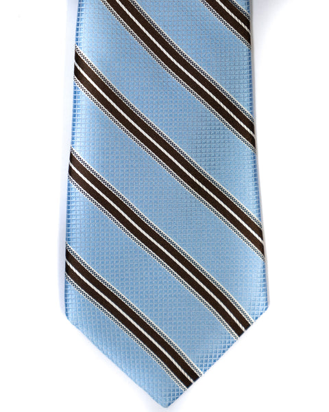 Silk Tie In Light Blue With Brown Stripes - Rainwater's Men's Clothing and Tuxedo Rental