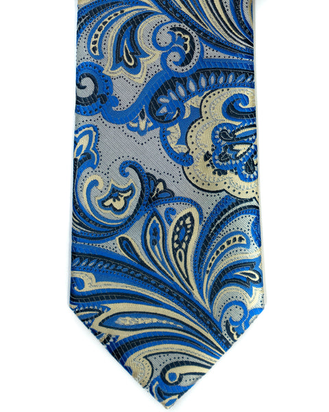 Venturi Uomo Exploded Paisley Tie in Silver with Blue - Rainwater's