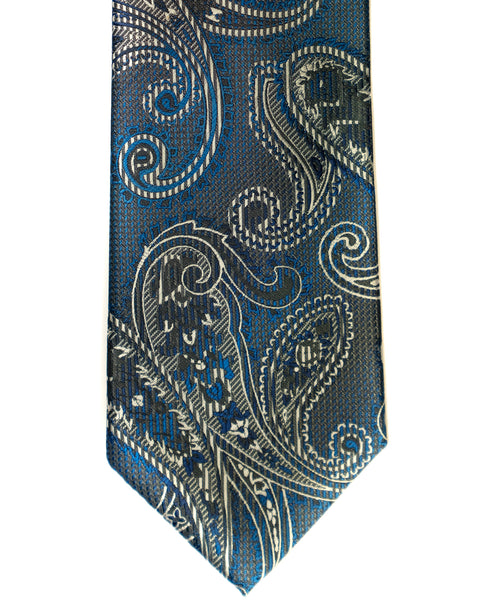 Venturi Uomo Paisley Tiny Check Tie in French Blue with Grey - Rainwater's Men's Clothing and Tuxedo Rental
