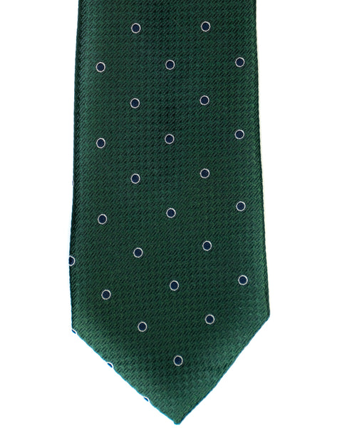 Silk Tie In Green With Navy Dot Foulard Print - Rainwater's