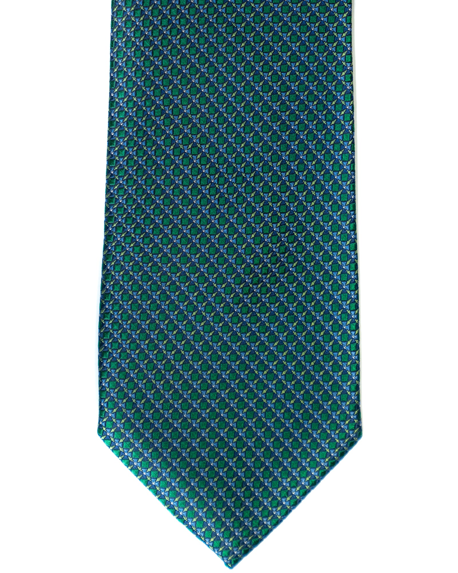 Silk Tie In Teal Green With Navy Foulard & Circle Print - Rainwater's Men's Clothing and Tuxedo Rental