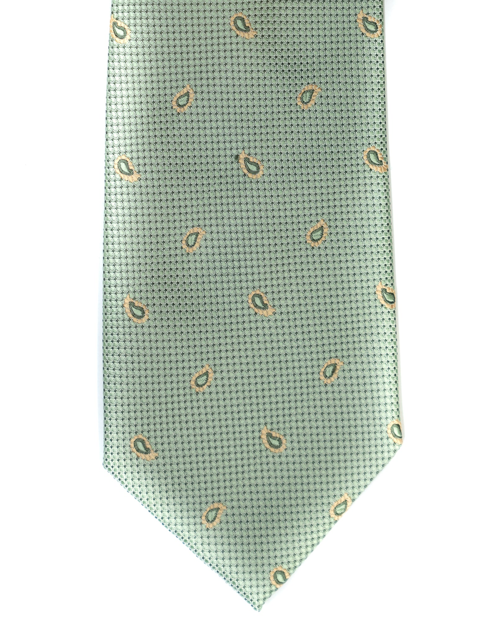 Gianfranco Foulard Tie in Green with Yellow - Rainwater's