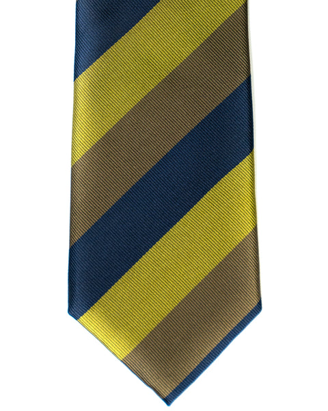 Silk Tie In Navy With Olive & Green Stripes - Rainwater's Men's Clothing and Tuxedo Rental