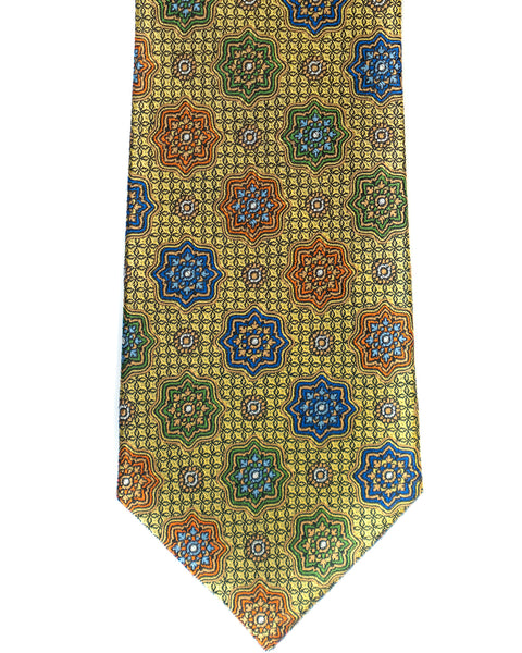 Silk Tie In Yellow Gold Medallion Foulard Print - Rainwater's