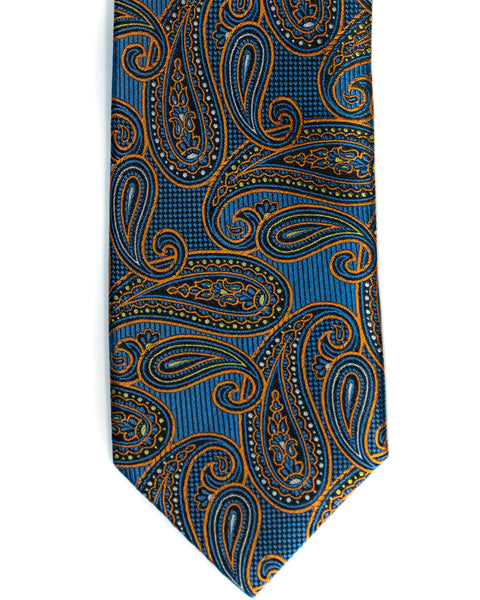 Paisley Silk Tie in Blue With Orange - Rainwater's