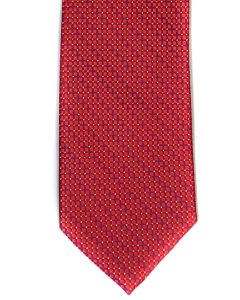 Silk Tie In Salmon Red Neat Foulard Print - Rainwater's Men's Clothing and Tuxedo Rental