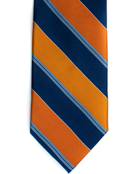 Silk Tie In Orange With Navy Bar Stripes - Rainwater's Men's Clothing and Tuxedo Rental