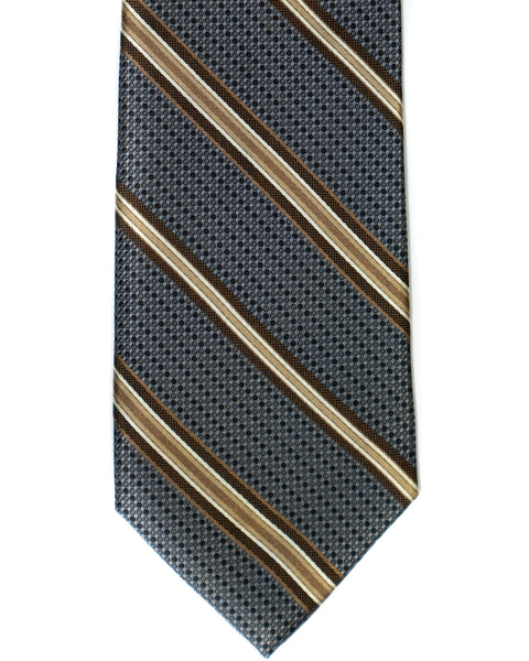 Silk Tie In Grey With Brown Stripes - Rainwater's Men's Clothing and Tuxedo Rental