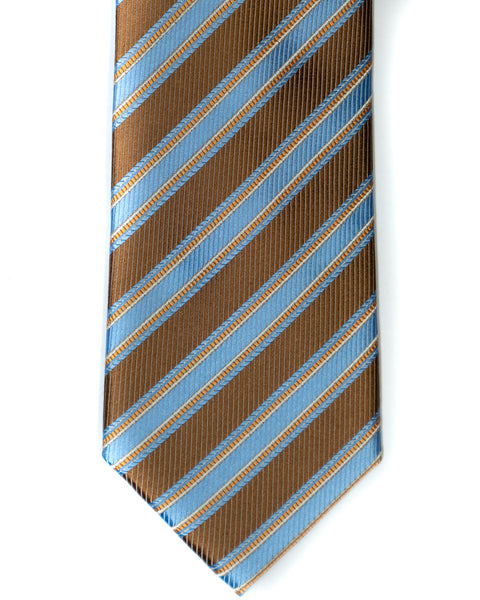 Silk Tie In Light Brown With Light Blue Stripes - Rainwater's Men's Clothing and Tuxedo Rental