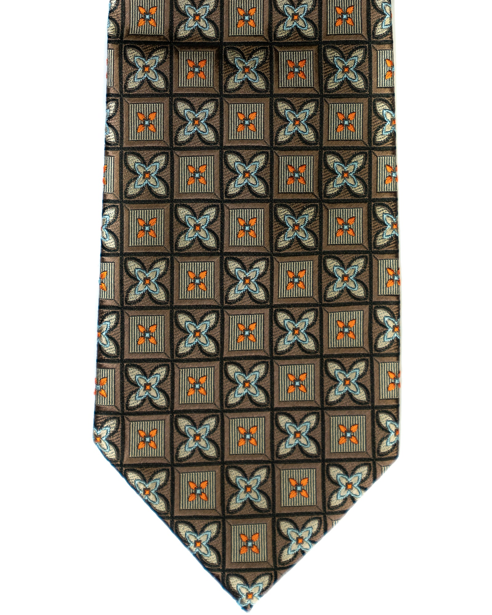 Silk Tie In Brown Foulard Squares Print - Rainwater's Men's Clothing and Tuxedo Rental