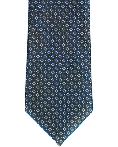 Silk Tie In Navy With Grey Neat Foulard Print - Rainwater's